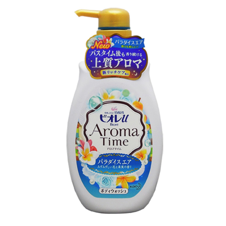 Kao «Biore Aroma Time» - Гель для душа с изысканным ароматом цветов и фруктов, подходит для нежной детской кожи, 550 мл. Артикул: 294623