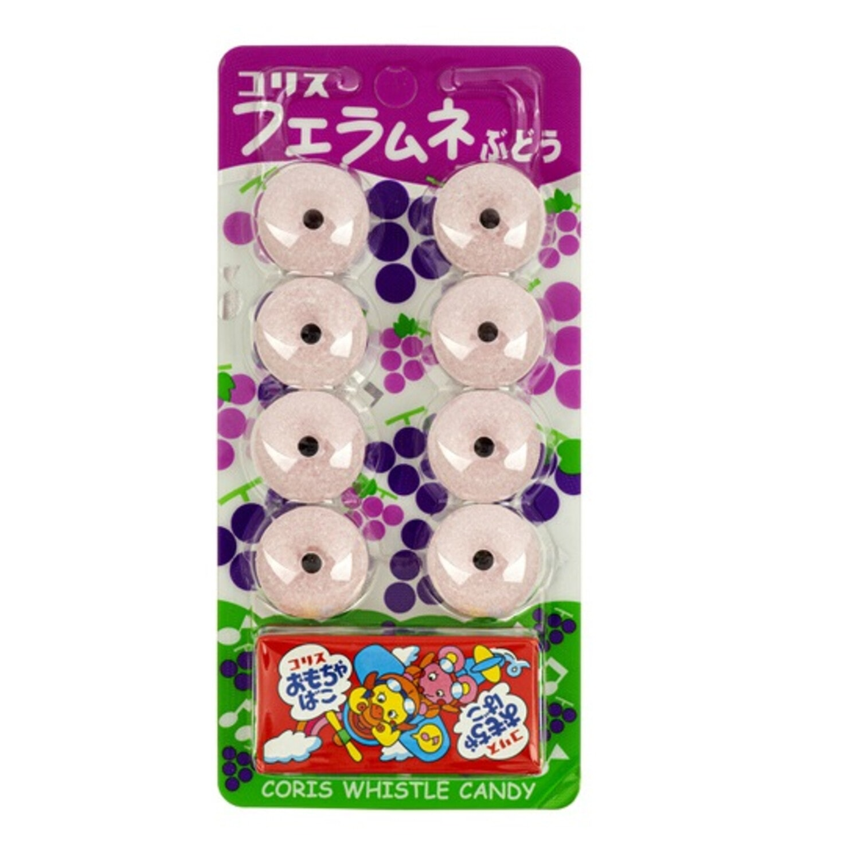 Coris Леденцы-свистульки со вкусом винограда и игрушкой, 8шт, 22 гр