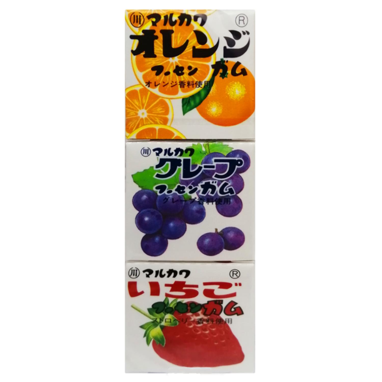 Marukawa Жевательная резинка  (ассорти) апельсин, виноград, клубника, 3 упаковки по 4 шарика