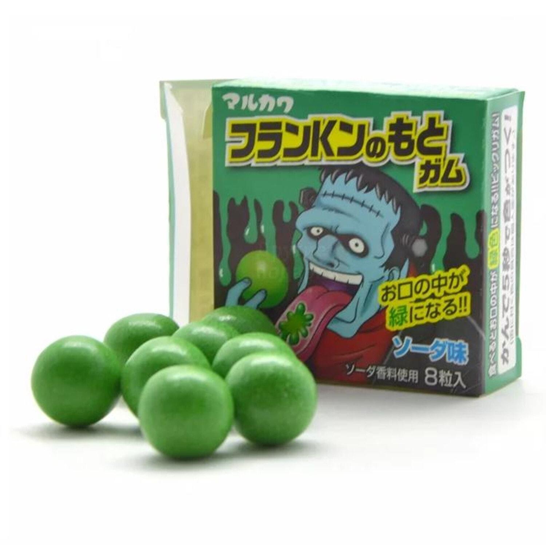 MARUKAWA  Жевательная резинка Франкенштейн, окрашивает язык в зеленый цвет, (8 шариков)