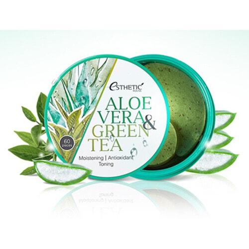ESTHETIC HOUSE Aloe Vera & Green Tea Hydrogel Eye Patch Гидрогелевые патчи для век с соком алоэ и зелёным чаем, 60 шт