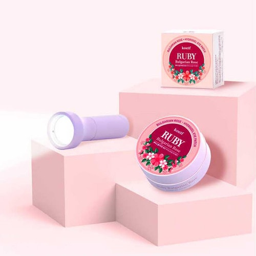 KOELF Ruby Bulgarian Rose Hydrogel Eye Patch Гидрогелевые патчи для глаз с экстрактом рубина и болгарской розы, 60 шт./ 802605