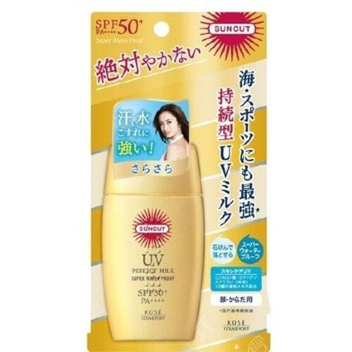 """Kose Cosmeport """"Suncut"""" Солнцезащитное молочко для лица и тела, SPF50 +, суперводоотталкивающее, 60 гр"""