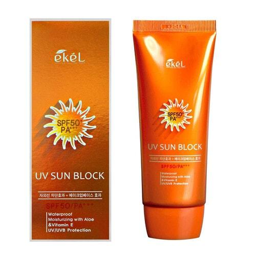 Ekel Крем солнцезащитный SPF50 с экстрактом алоэ и витамином Е Sun Block, 70 мл
