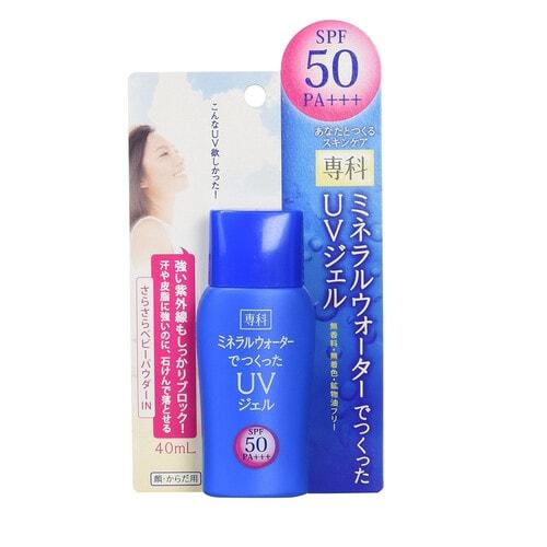SHISEIDO SENKA Солнцезащитный гель на основе минеральной воды  для сухой кожи защита, SPF50+ ,40мл