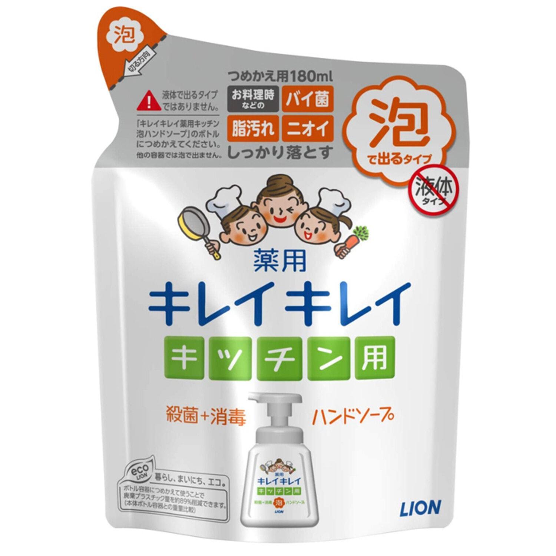 """LION KireiKirei"""" Кухонн. Пенн. мыло для рук с дезинф.и дезодор.эффект.с аром. цитрус., с/б,180мл"""