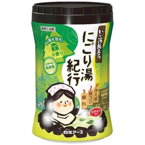 """Hakugen Увлажняющая соль для ванны с восстанавливающим эффектом """"Банное путешествие"""", с ароматом леса, банка 600 г"""