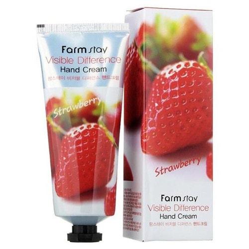 FarmStay Visible Difference Hand Cream Strawberry Крем для рук с экстрактом клубники, 100 мл./ 280464