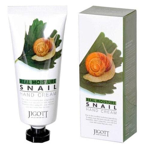 JIGOTT Real Moisture Snail Hand Cream Крем для рук питательный с муцином улитки , 100мл.