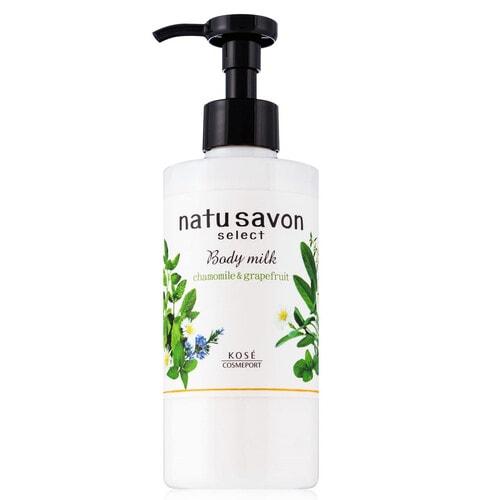 KOSE Softymo Natu Savon Body Milk Молочко для тела увлажняющее, с натуральными ингредиентами, с ароматом ромашки и грейпфрута, 230мл.