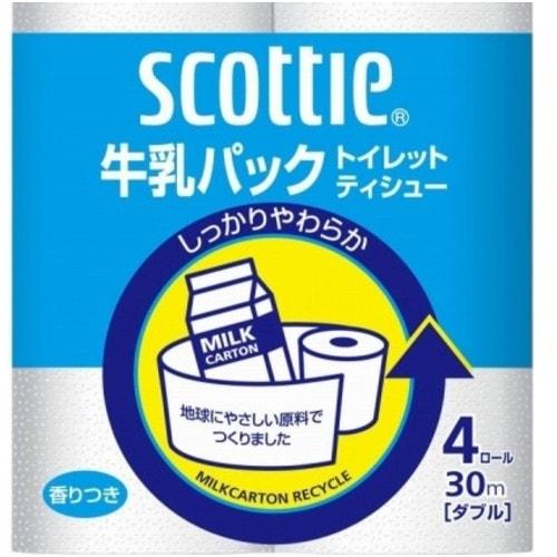 Nippon Paper Crecia Co., Ltd. Туалетная бумага из переработанной целлюлозы, с легким ароматом «Scottie», двухслойная, 4х30 м./ 277208