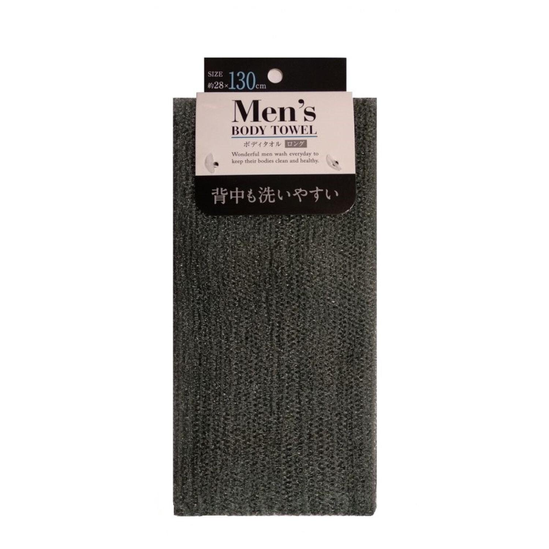 Мочалка для мужчин средней жесткости, 28*130 см, серая