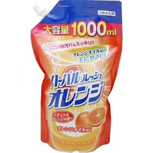 Mitsuei Средство для мытья посуды, овощей и фруктов, аромат апельсина, мягкая упаковка, 1000 мл/ 040726