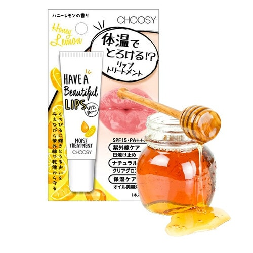 Choosy Солнцезащитный увлажняющий бальзам для губ с маслом макадамии, экстрактами плаценты и молочных белков, коллагеном и гиалуроновой кислотой с ароматом мёда и лимона, SPF15 PA+++, 10 мл