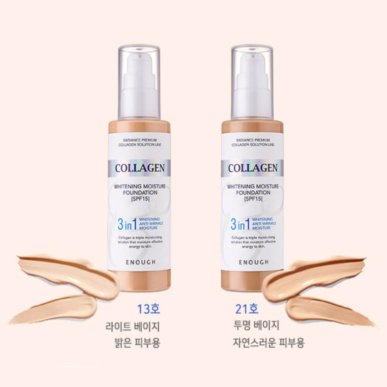 Enough Collagen whitening foundation 3in1 Основа тональная с коллагеном 21тон , 100мл