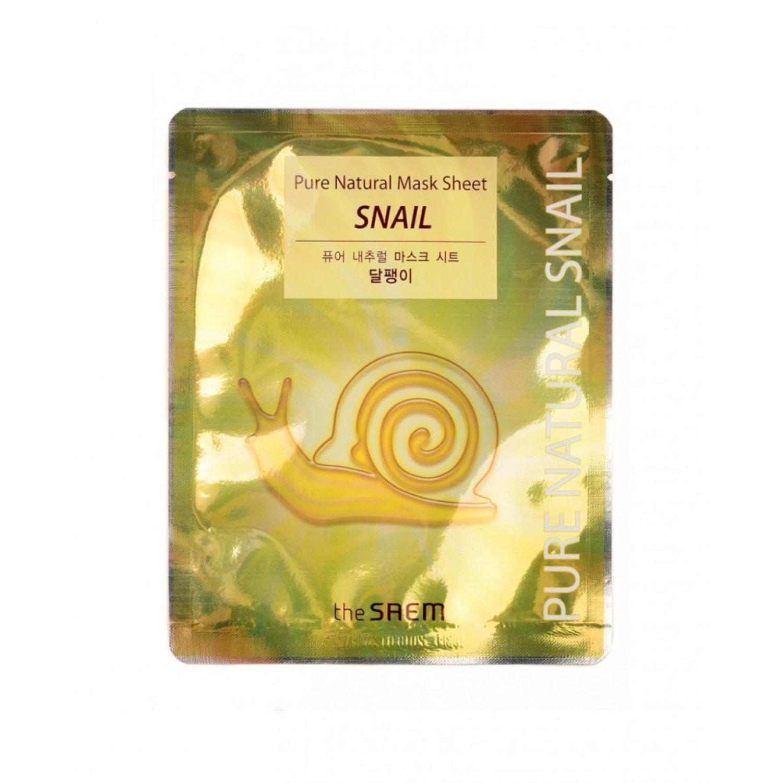 The Saem Pure Natural Mask Sheet  Snail Маска тканевая восстанавливающая с муцином улитки
