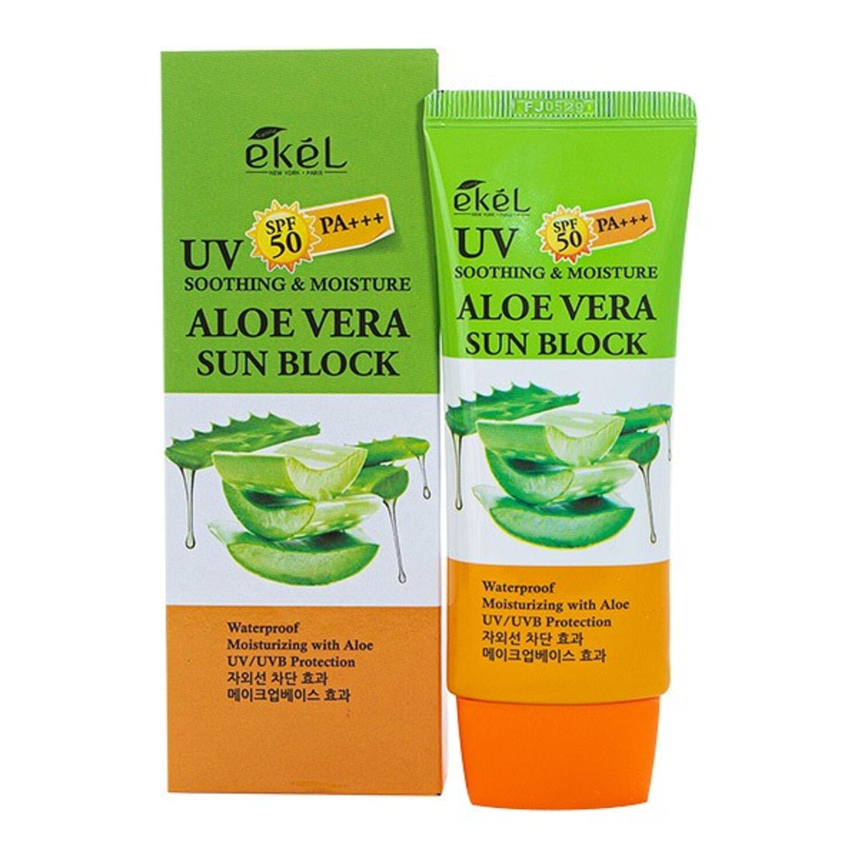 EKEL UV Soothing & Moisture Aloe Vera Sun Block SPF 50 PA+++  Солнцезащитный крем с алоэ вера, 70 мл