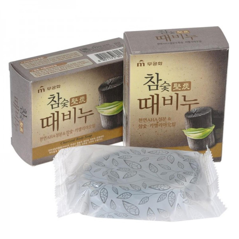 """Mukunghwa """"Charcoal Body Soap""""  Отшелушивающее и глубоко очищающее мыло для тела и лица c древесным углём , 100 г"""