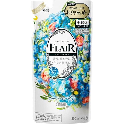 KAO Flair Fragrance Flower Harmony Кондиционер-смягчитель для белья  с освежающим цветочным ароматом, сменка, 400 мл
