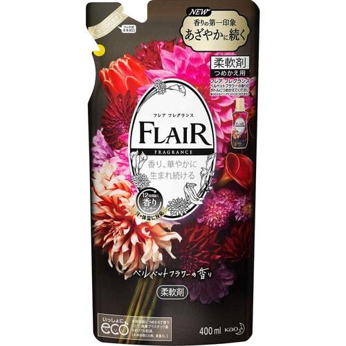 KAO Flair Fragrance Velvet Flower Арома кондиционер для белья, аромат Бархатный цветок (сменная упаковка) , 400 мл