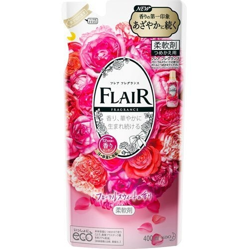 KAO Flair Fragrance Floral Sweet Арома кондиционер для белья, аромат Сладкий цветок, (сменная упаковка), 400 мл
