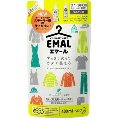 KAO Emal Средство для стирки шерсти, шелка и деликатных тканей, с ароматом зеленых цитрусов, сменная упаковка, 400 мл