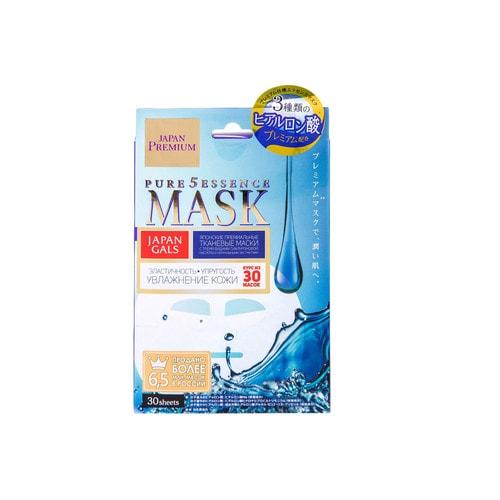 Japan Gals Premium Маска для лица c тремя видами гиалуроновой кислоты, 30 шт. / 010034