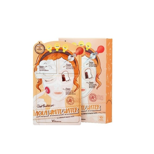 Elizavecca 3-step aqua white water mask pack Маска для лица осветляющая и увлажняющая 3-шаговая