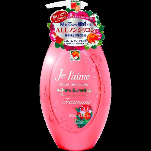 KOSE Тритмент для сухих и окрашенных волос Je l'aime Глубокое увлажнение, с абрикосовым маслом, без силикона, фруктово-цветочный аромат ,500 мл/ 383355