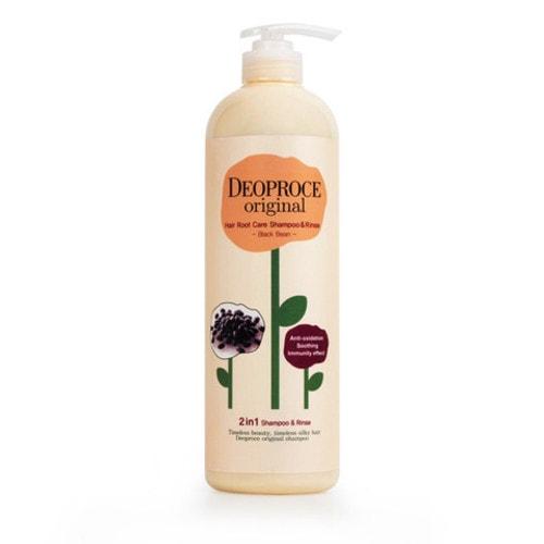 Deoproce Original Shiny Care 2 in 1 Shampoo Blueberry шампунь-бальзам для блеска волос с черикой, 1000мл/ 762547